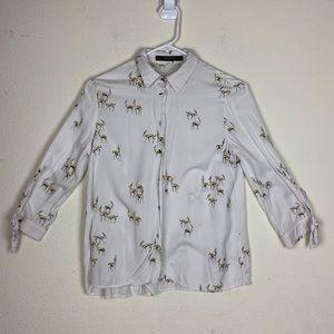 Zara- White Button up Top w/ Antelope Print size S